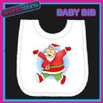 SANTA CLAUS FATHER CHRISTMAS WHITE BABY BIB PRINTED DESIGN - 160888651164